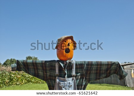 A spooking looking scarecrow on a farm with blue sky background and lots of copy space - stock photo