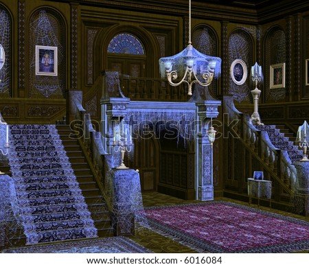 A spooky and deserted mansion. - stock photo
