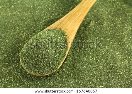 A spoon of fine Japanese green tea powder, Matcha Tea - stock photo
