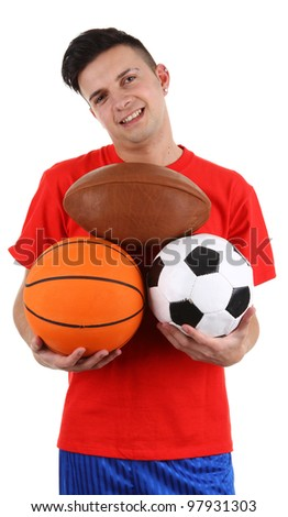 A sports player holding different balls, isolated on white - stock photo