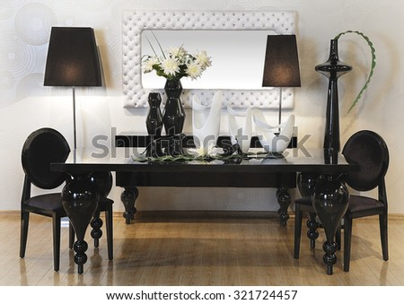 a spot in a showroom with furniture and others decoration accessories - stock photo