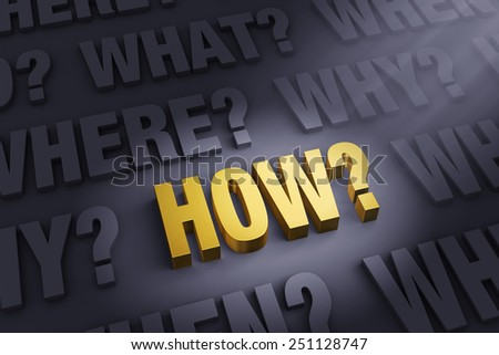 "A spotlight illuminates a bright, gold ""HOW?"" on a dark background filled with ""WHO?"", ""WHAT?"", ""WHEN?"", ""WHERE?"", and ""WHY?""   - stock photo"