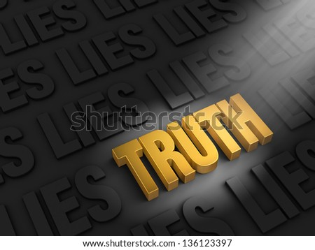 "A spotlight illuminates a bright, gold ""TRUTH"" on a dark background of ""LIE""s - stock photo"