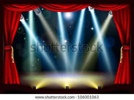 A spotlight theatre stage with coloured spotlights and red stage curtain drapes - stock photo
