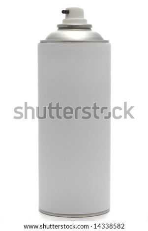A spray can with blank label, isolated on white. - stock photo