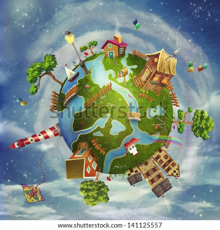 A spring day on planet Earth: a green cartoon world with houses, flowers,sea, trees ,clouds - stock photo