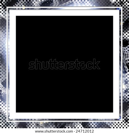 A square photo frame with a halftone texture. - stock photo
