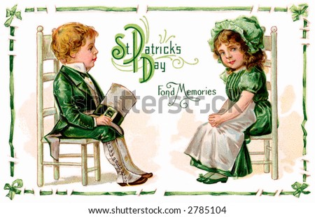 A St. Patrick's Day greeting card illustration - 'Fond memories' - circa 1911 - stock photo