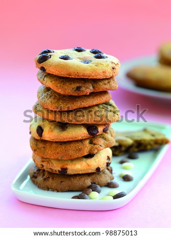 a stack of assorted chocolate chip cookies - stock photo