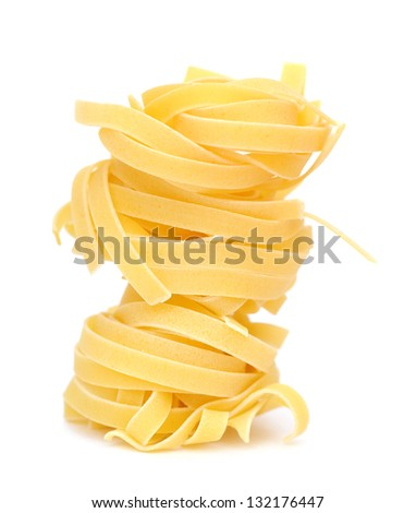 a stack of dried noodle on white background - stock photo