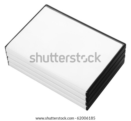 A stack of DVD or CD cases isolated on white with a clipping path - stock photo