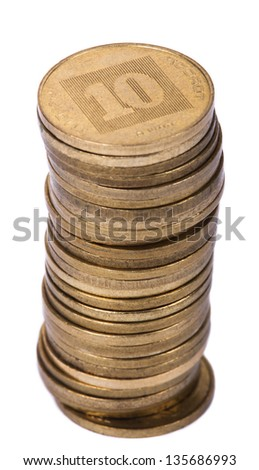A stack of golden coins isolated on white background. These are 10 Agorot (Singular: Agora), the israeli equivelant of cents. - stock photo