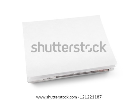 A stack of newspapers with blank space for information. Isolated on white. - stock photo
