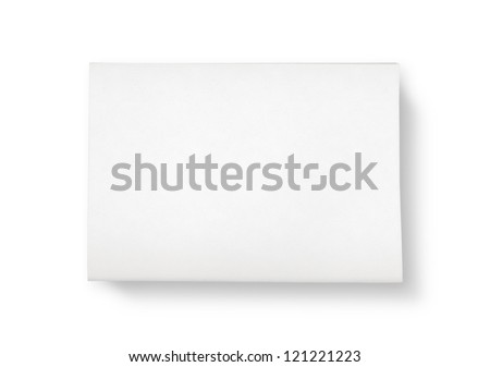 A stack of newspapers with blank space for information. Top view shot. Isolated on white. - stock photo