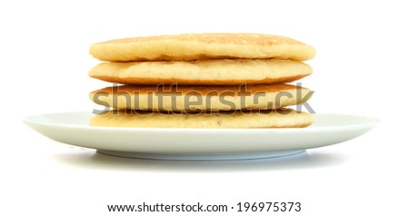 A stack of plain pancakes in plate on a white background.  - stock photo