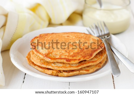 A Stack of Pumpkin Pancakes, copy space for your text - stock photo