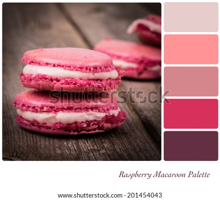 A stack of raspberry macaroon, vintage style over old wooden table,, in a colour palette with complimentary colour swatches - stock photo