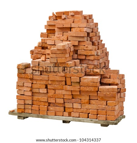 A stack of red clay bricks isolated on a white background - stock photo