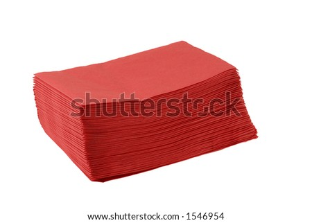 A stack of red paper napkins for a patriotic theme picnic - stock photo