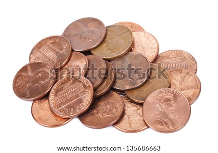 A stack of 1 US cent (penny) coins isolated on white background. This is the version of the penny that was produced between the years 1959-2008, depicting the Lincoln memorial. - stock photo
