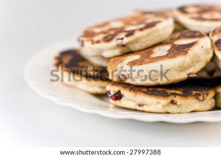 a stack of welsh cakes isolated on white backgound - stock photo