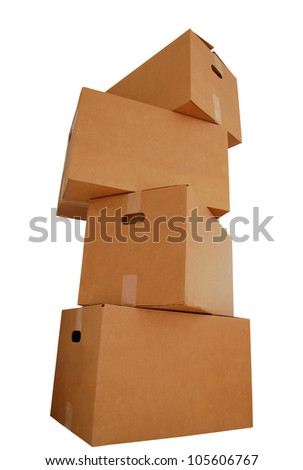 A stacking of cardboard shipping boxes - stock photo