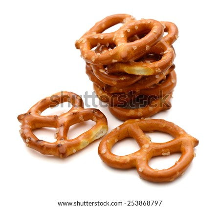 A stacking of salted pretzels - stock photo