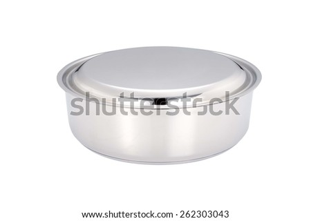 A stainless pan - stock photo