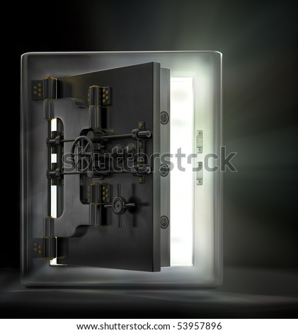 A stainless steel safe vault with beams of light pouring out in a dark room. - stock photo