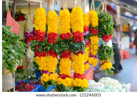 A Stall Selling Fresh Flower Garlands For Prayer - stock photo
