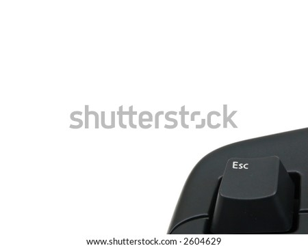 A standard black keyboard for computers or other electronic device. Focus on: ESC key. - stock photo