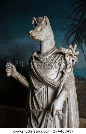 A statue of an egyptian wolfman, God, Anubis in Rome, Italy, 2014 - stock photo