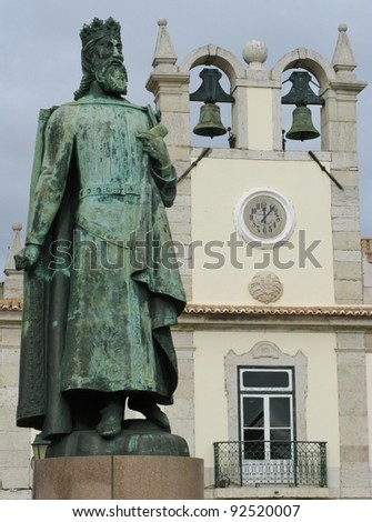 A statue of Don Pedro in Cascais in Portugal - stock photo