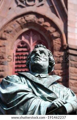A statue of Martin Luther outside of Luther Place Memorial Church in Washington DC - stock photo