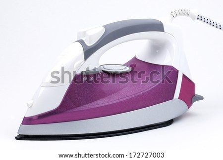 a steam iron on a white background - stock photo
