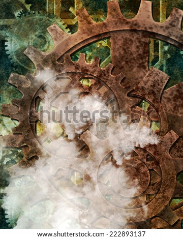 A steampunk background with clockworks and steam. - stock photo