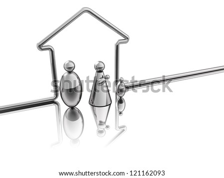 A steel tube designed a house for a family of steel - stock photo