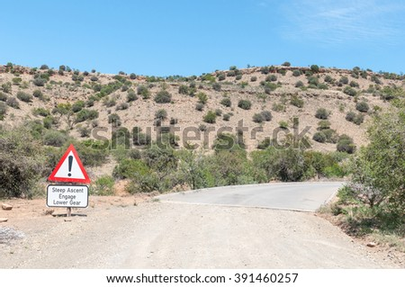 A steep ascend warning on the link road in the Mountain Zebra National Park near Cradock in South Africa - stock photo