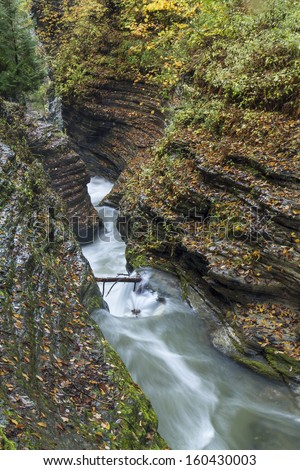 A steep, layered gorge in Watkins Glen State Park, New York - stock photo