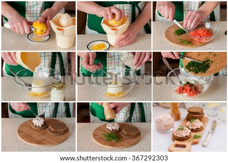 A Step by Step Collage of Making Smoked Salmon, Cream Cheese, Dill and Horseradish Pate - stock photo