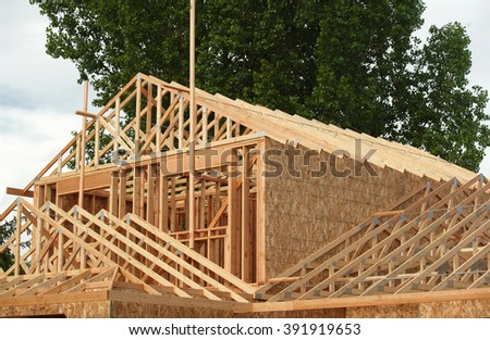 A stick built residential building. - stock photo