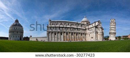 A stitched panorama of the Piazza dei Miracoli, Pisa, showing the Baptistery, Cathedral and Leaning Tower - stock photo