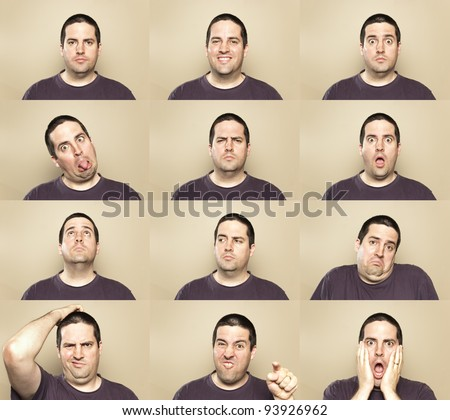 A stock photo showing many faces of the same man - stock photo