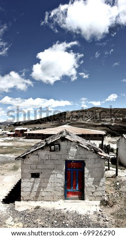 A stone building at the village of Quilotoa Ecuador - stock photo