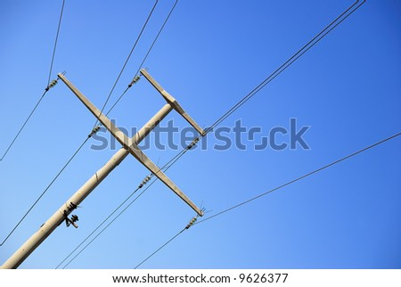 A Stone electric pole with six wire - stock photo