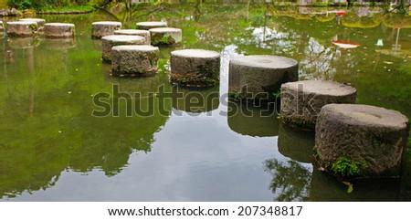 A stone path in the Zen Garden of the Heian-jingu Shrine in Kyoto, Japan - stock photo
