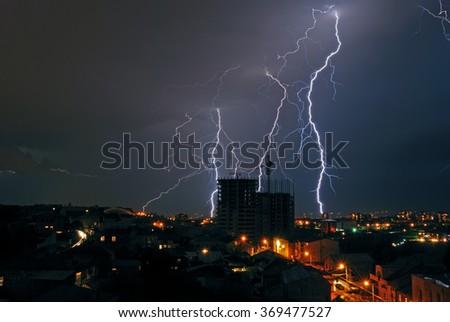a storm in the night city, Yerevan, Armenia - stock photo