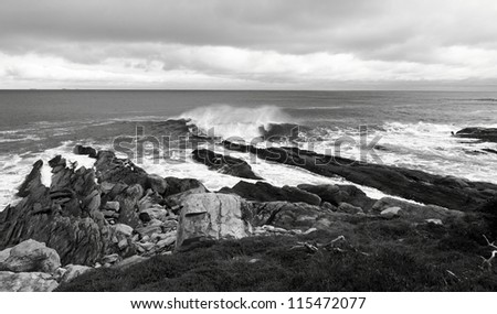A stormy day along the coast of Nova Scotia - stock photo
