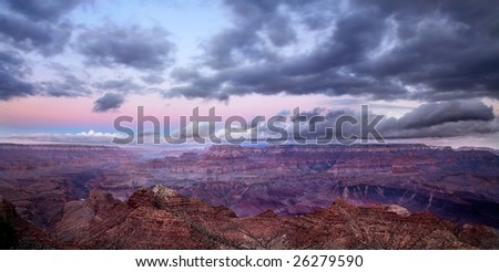 A Stormy Morning At Grand Canyon National Park, Arizona, East Rim View - stock photo
