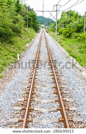 a straight railroad - stock photo